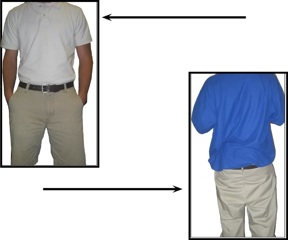 Picture of correct dress (polo tucked into khaki pants with belt) and incorrect dress (shirt hanging out/pants baggy and ..)